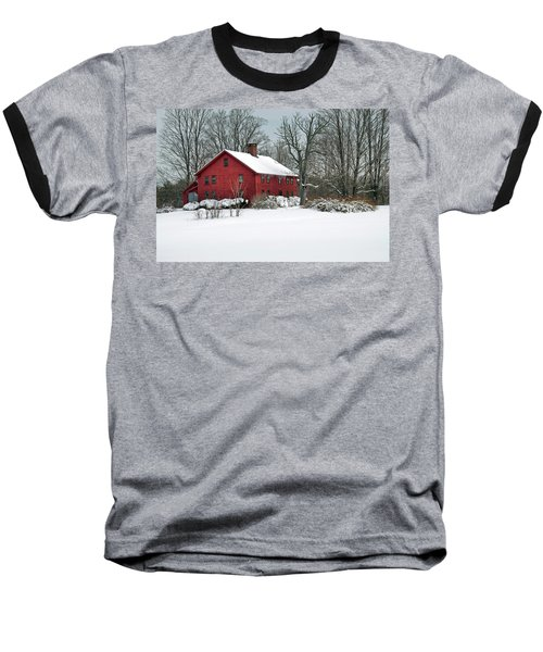 Red New England Colonial In Winter Baseball T-Shirt