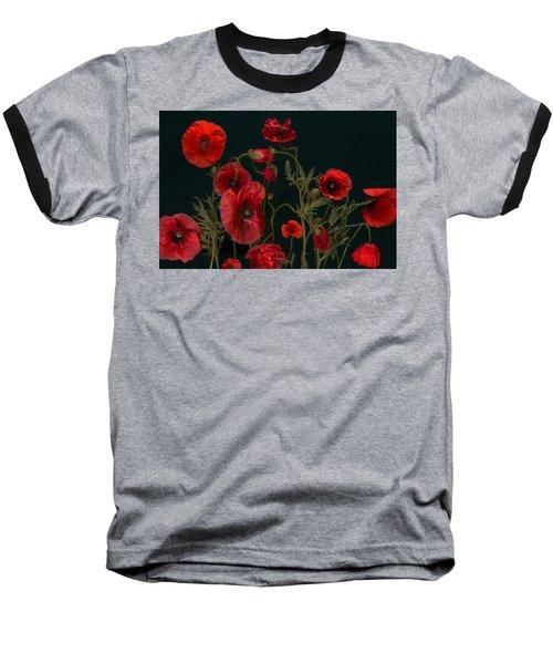 Red Poppies On Black Baseball T-Shirt