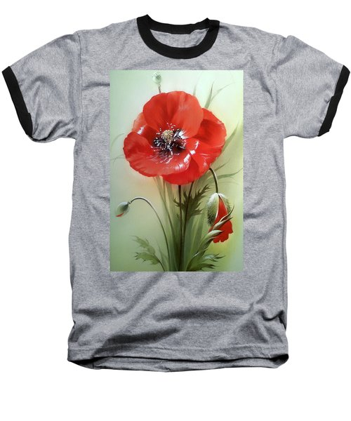 Red Poppy Flower With Bud Baseball T-Shirt