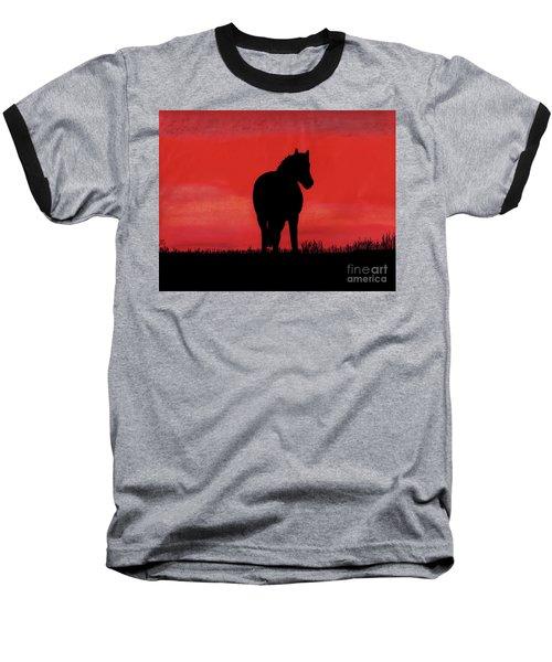 Red Sunset Horse Baseball T-Shirt