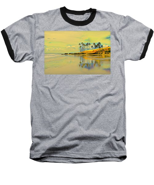 Reflection Of Coastal Palm Trees Baseball T-Shirt