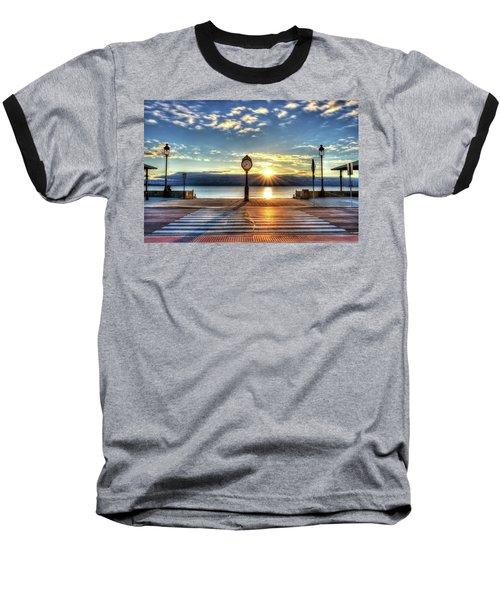 Revere Beach Clock At Sunrise Angled Long Shadow Revere Ma Baseball T-Shirt