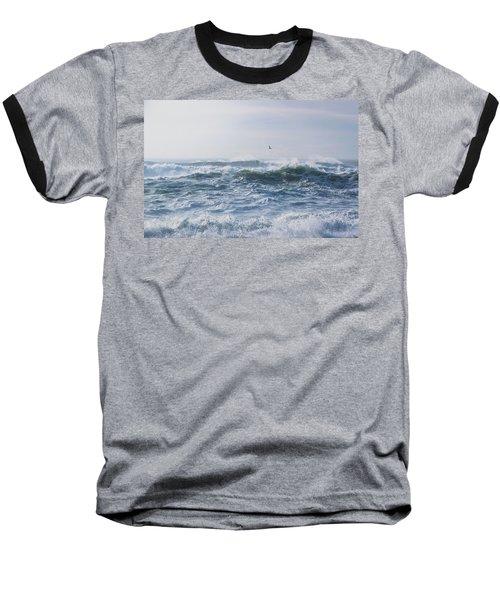Reynisfjara Seagull Over Crashing Waves Baseball T-Shirt