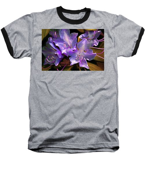 Baseball T-Shirt featuring the mixed media Rhododendron Glory 17 by Lynda Lehmann