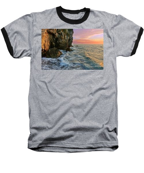 Rocky Cliffs And Waves During Sunset Baseball T-Shirt