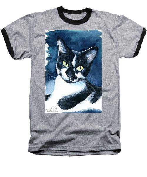 Rollie Tuxedo Cat Painting Baseball T-Shirt