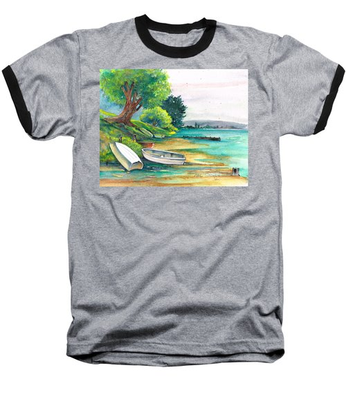 Baseball T-Shirt featuring the painting Safe Mooring-whangamata Harbour. by Val Stokes