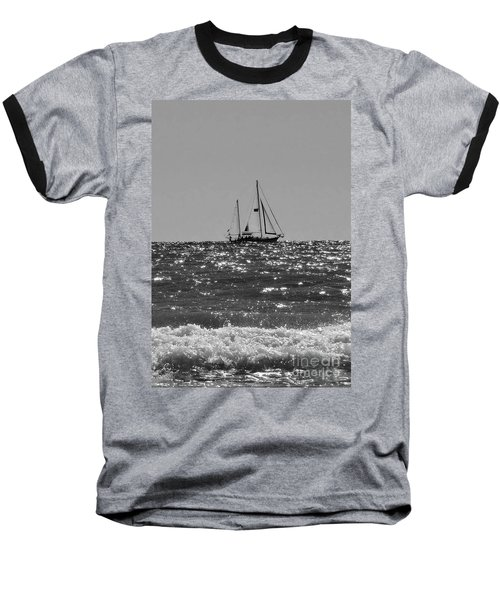 Sailboat In Black And White Baseball T-Shirt