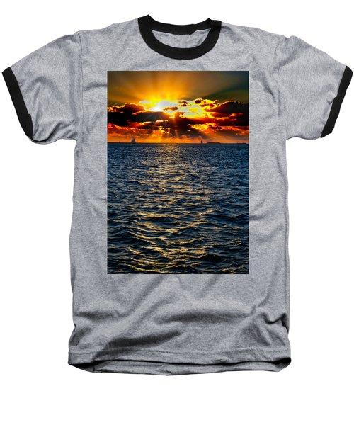 Sailboat Sunburst Baseball T-Shirt