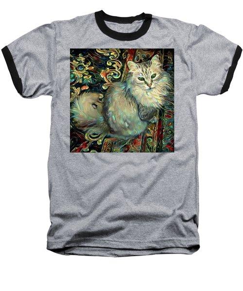 Samson The Silver Maine Coon Cat Baseball T-Shirt