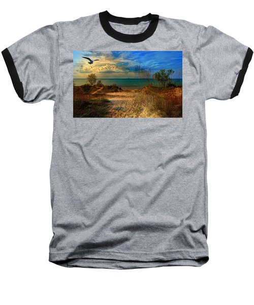 Sand Track To The Ocean At Dusk Baseball T-Shirt