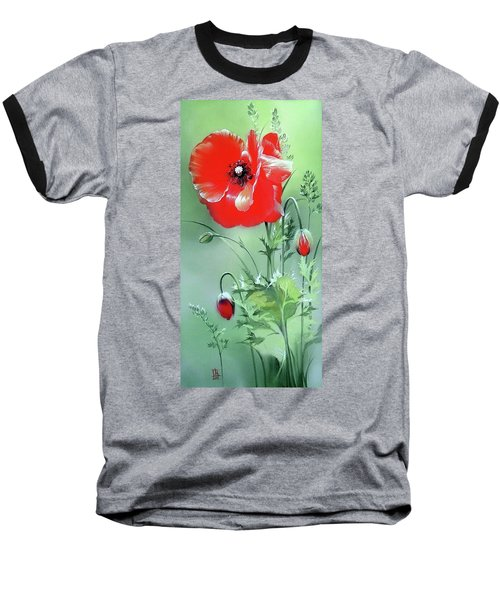 Scarlet Poppy Flower Baseball T-Shirt