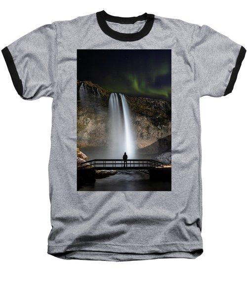 Seljalandsfoss Northern Lights Silhouette Baseball T-Shirt