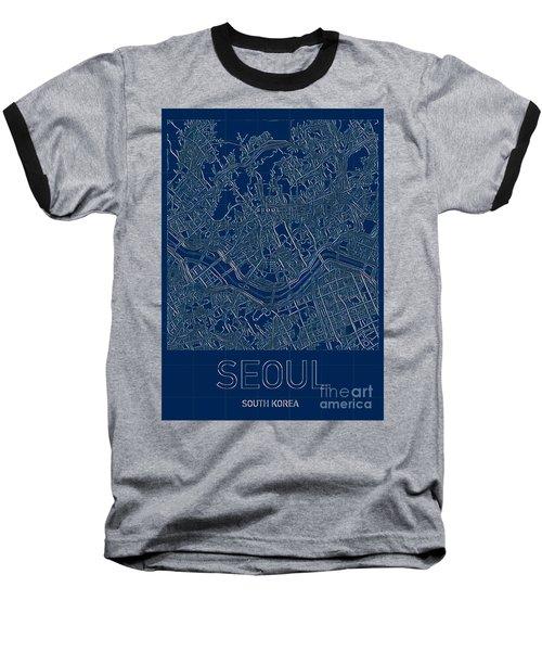 Seoul Blueprint City Map Baseball T-Shirt