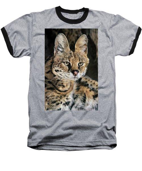 Serval Portrait Wildlife Rescue Baseball T-Shirt
