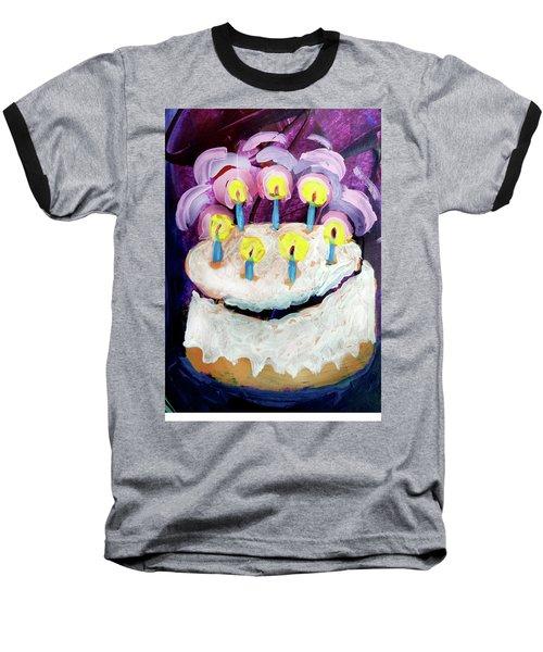 Seven Candle Birthday Cake Baseball T-Shirt