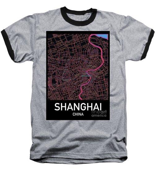 Shanghai City Map Baseball T-Shirt