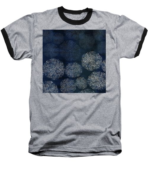 Shibori Sea Urchin Burst Pattern Dark Denim Baseball T-Shirt