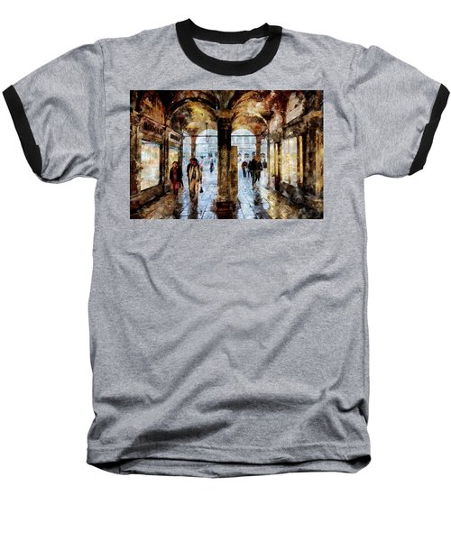 Shopping Area Of Saint Mark Square In Venice, Italy - Watercolor Effect Baseball T-Shirt