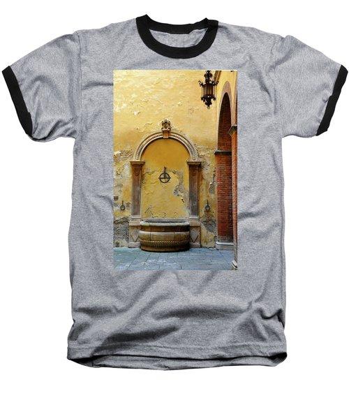 Sienna Fountain Courtyard Baseball T-Shirt