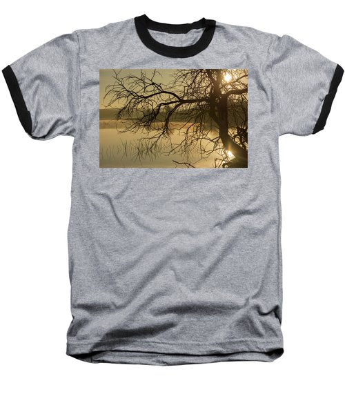 Silhouette Of A Tree By The River At Sunrise Baseball T-Shirt