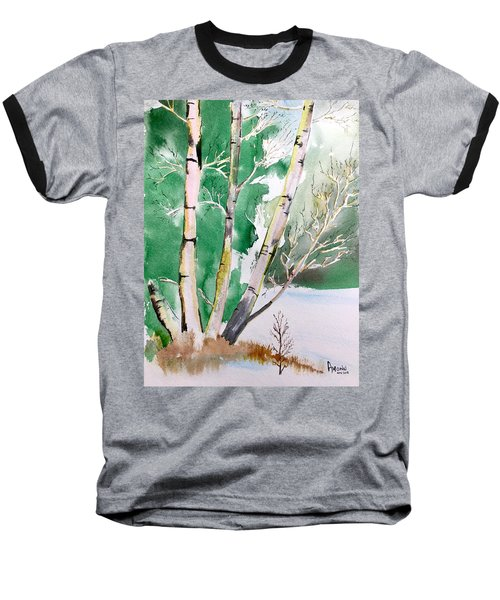 Silver Birch In Snow Baseball T-Shirt