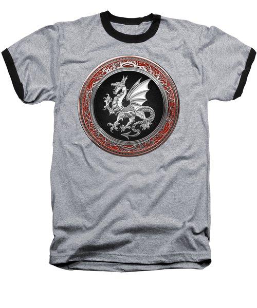 Silver Winged Norse Dragon - Icelandic Viking Landvaettir On Black And Silver Medallion Over Red  Baseball T-Shirt