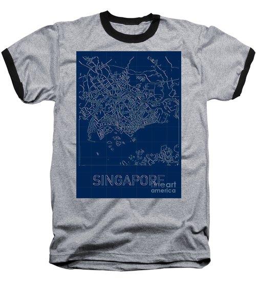 Singapore Blueprint City Map Baseball T-Shirt