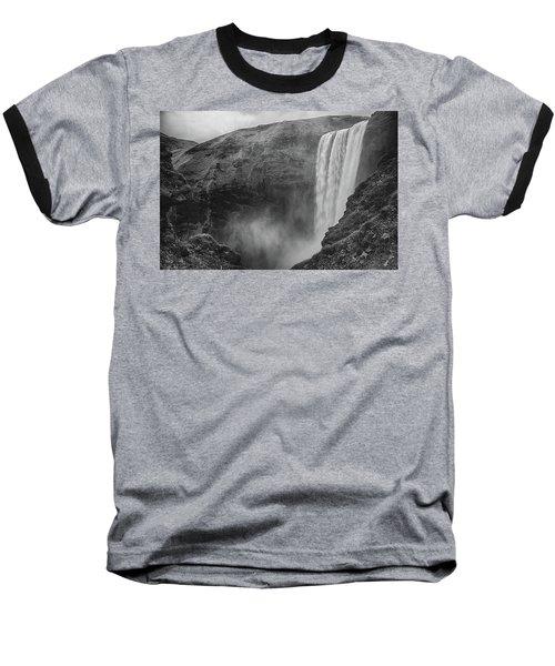 Skogafoss Iceland Black And White Baseball T-Shirt