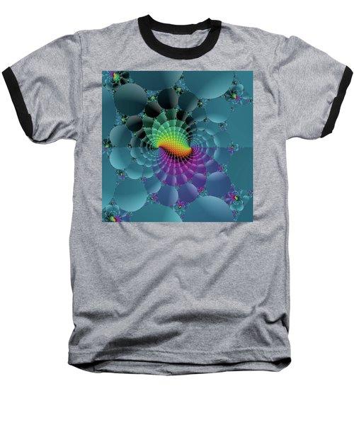 Slate Blue Fractal Baseball T-Shirt