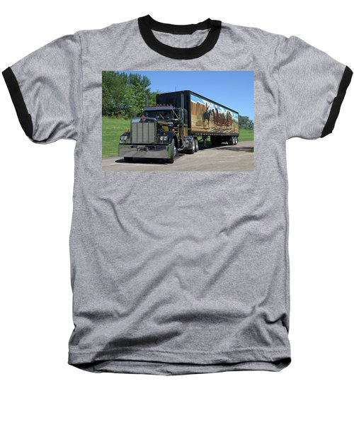Smokey And The Bandit Tribute Kenworth W900 Black And Gold Semi Truck Baseball T-Shirt