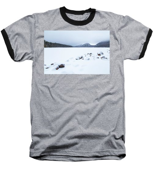 Snow Cover Jordan Pond Baseball T-Shirt