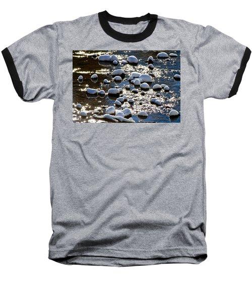 Snow Covered Rocks Baseball T-Shirt