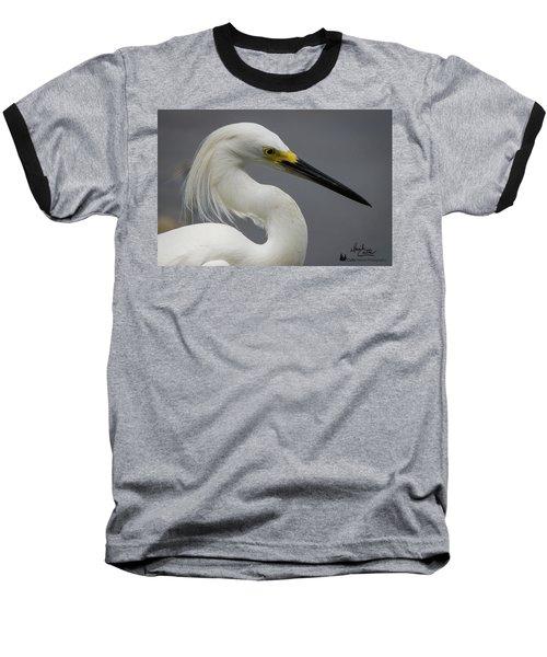 Snow Egret Portrait Baseball T-Shirt