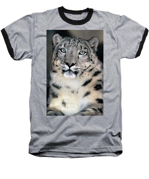 Snow Leopard Portrait Endangered Species Wildlife Rescue Baseball T-Shirt