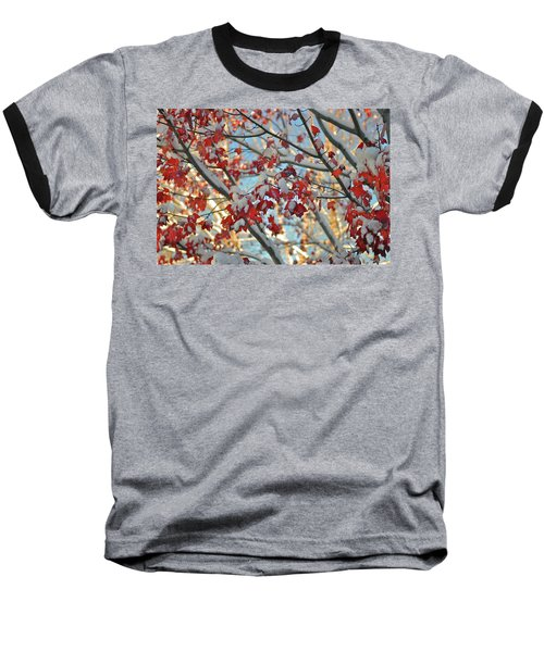 Snow On Maple Leaves Baseball T-Shirt