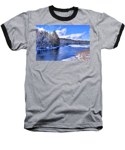 Baseball T-Shirt featuring the photograph Snowy Banks Of The Moose River by David Patterson