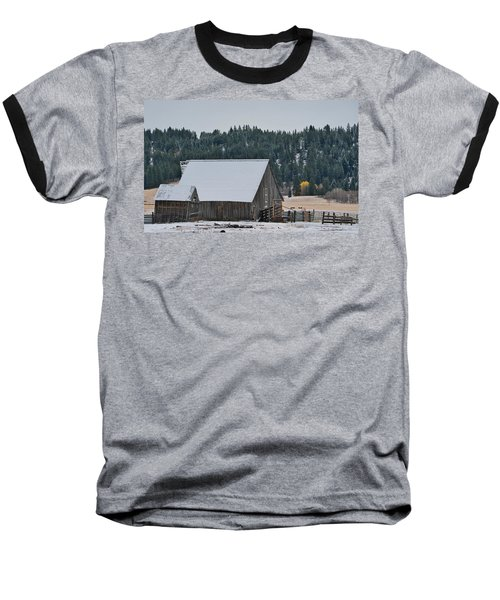 Snowy Barn Yellow Tree Baseball T-Shirt