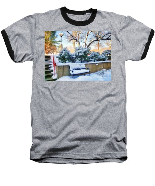 Snowy Bench Baseball T-Shirt