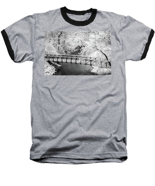 Snowy Bridge On Mill Creek Baseball T-Shirt