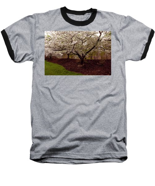 Snowy Cherry Blossoms Baseball T-Shirt