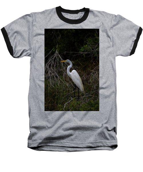 Snowy Egret On A Hot Summer Day Baseball T-Shirt