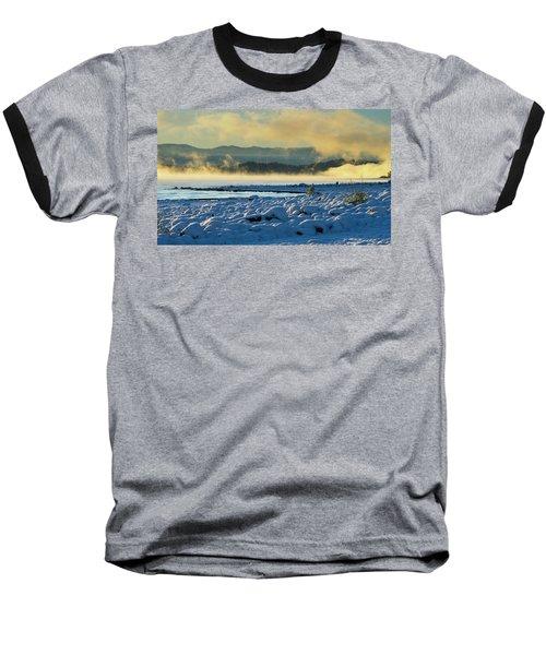 Snowy Shoreline Sunrise Baseball T-Shirt