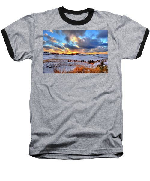 Baseball T-Shirt featuring the photograph Snowy Sunset by David Patterson