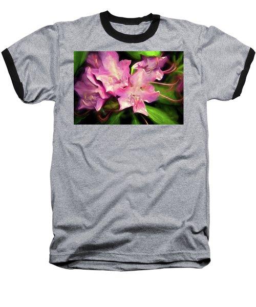 Baseball T-Shirt featuring the mixed media Soft Rhodie Blooms 6 by Lynda Lehmann