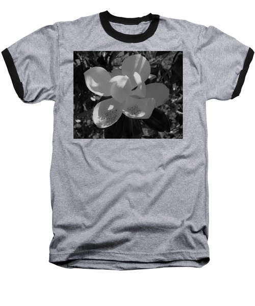 Southern Magnolia In Black And White Baseball T-Shirt