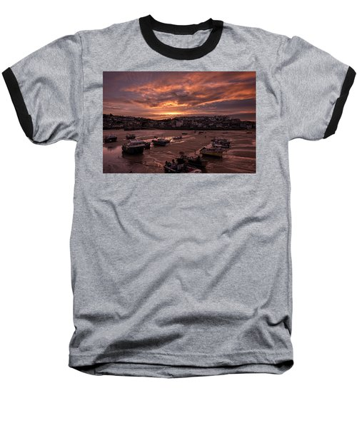 St Ives Cornwall - Harbour Sunset Baseball T-Shirt