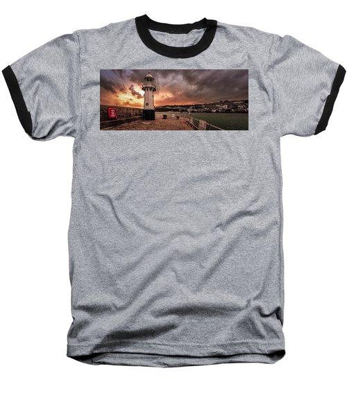 St Ives Cornwall - Lighthouse Sunset Baseball T-Shirt