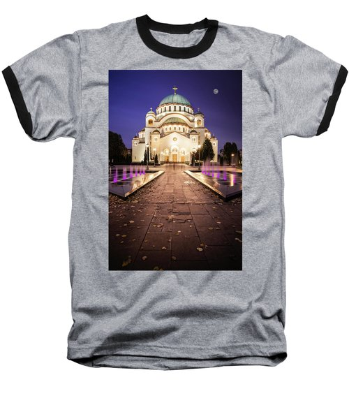 St. Sava Temple In Belgrade Nightscape Baseball T-Shirt