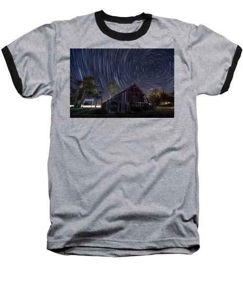 Star Trails Over Bonetti Ranch Baseball T-Shirt